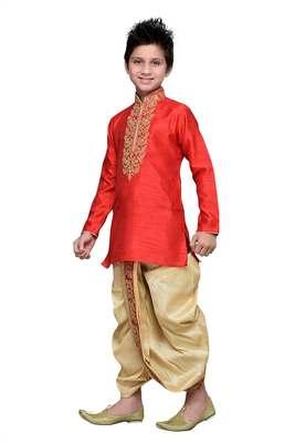 Maroon art silk kids kurta dhoti for boys