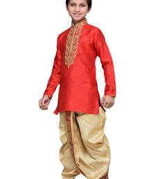 Buy Maroon art silk kids kurta dhoti for boys boys-dhoti-kurtum online