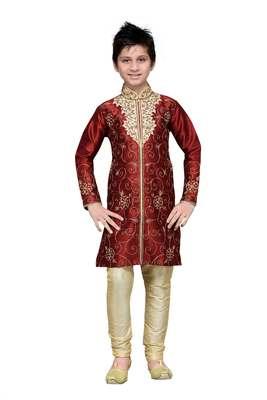 Maroon Art Silk Kids Kurta Pyjama For Boys