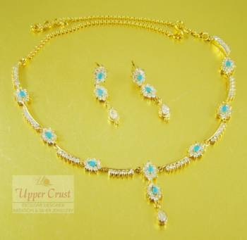 Turquoise American Diamond Necklace Jewellery