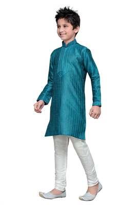 Rama Green Art Silk Kids Kurta Pyjama For Boys