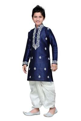 Navy blue art silk kids kurta pyjama for boys