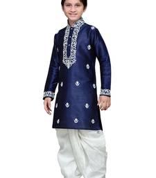 Navy blue art silk kids kurta pyjama for boys