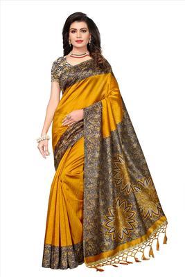Yellow printed semi tussar silk saree with blouse