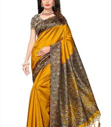Yellow printed semi tussar silk saree with blouse