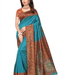 Buy Turquoise printed semi tussar silk saree with blouse women-ethnic-wear online