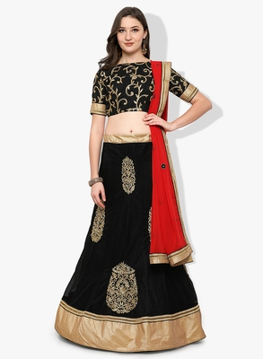 Black Embroidered Net Unstitched Lehenga With Dupatta