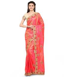 Buy Orange embroidered faux jacquard saree with blouse wedding-saree online