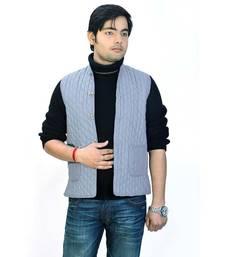 Stylish Pure Cotton Grey Men Quilted Nehru Jacket
