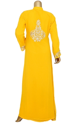 Yellow Embroidered Crystal Embellished Chiffon Kaftan Gown