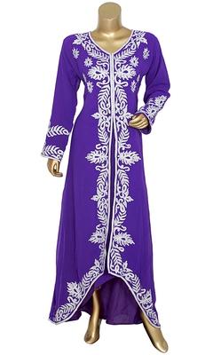 Purple Embroidered Chiffon Kaftan Gown Maxi Dress
