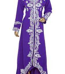 Purple Embroidered Chiffon Kaftan Gown Maxi Dress