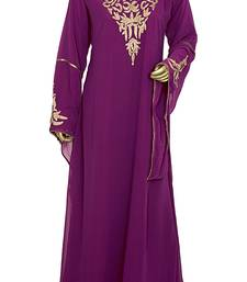 Magenta Embroidered Chiffon Kaftan Gown