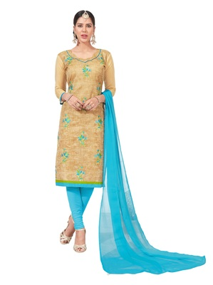 women chanderi Beige embroidery party wear unstiched  salwar suit with dupatta