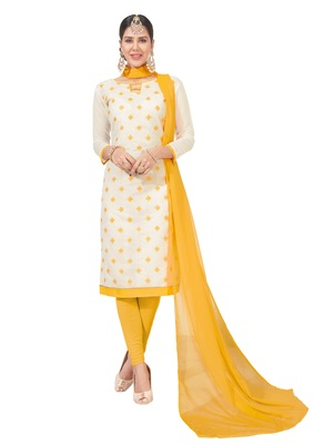 women chanderi White embroidery party wear unstiched  salwar suit with dupatta