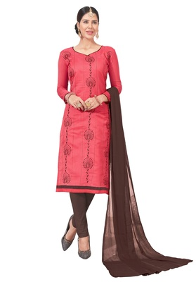 women chanderi Red embroidery party wear unstiched  salwar suit with dupatta
