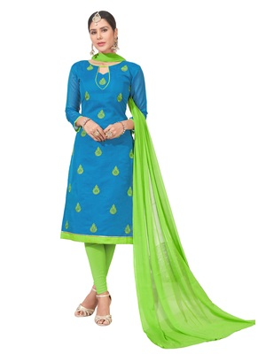 women chanderi Blue embroidery party wear unstiched  salwar suit with dupatta