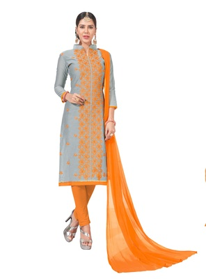 women chanderi Sliver embroidery casual wear unstiched  salwar suit with dupatta