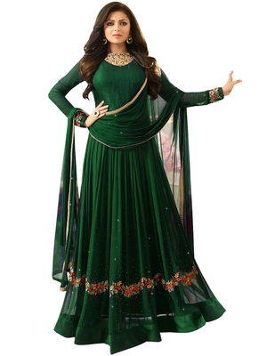 3c03f2c70e5 Green embroidered faux georgette Anarkali Suit - Multi retail - 2520165
