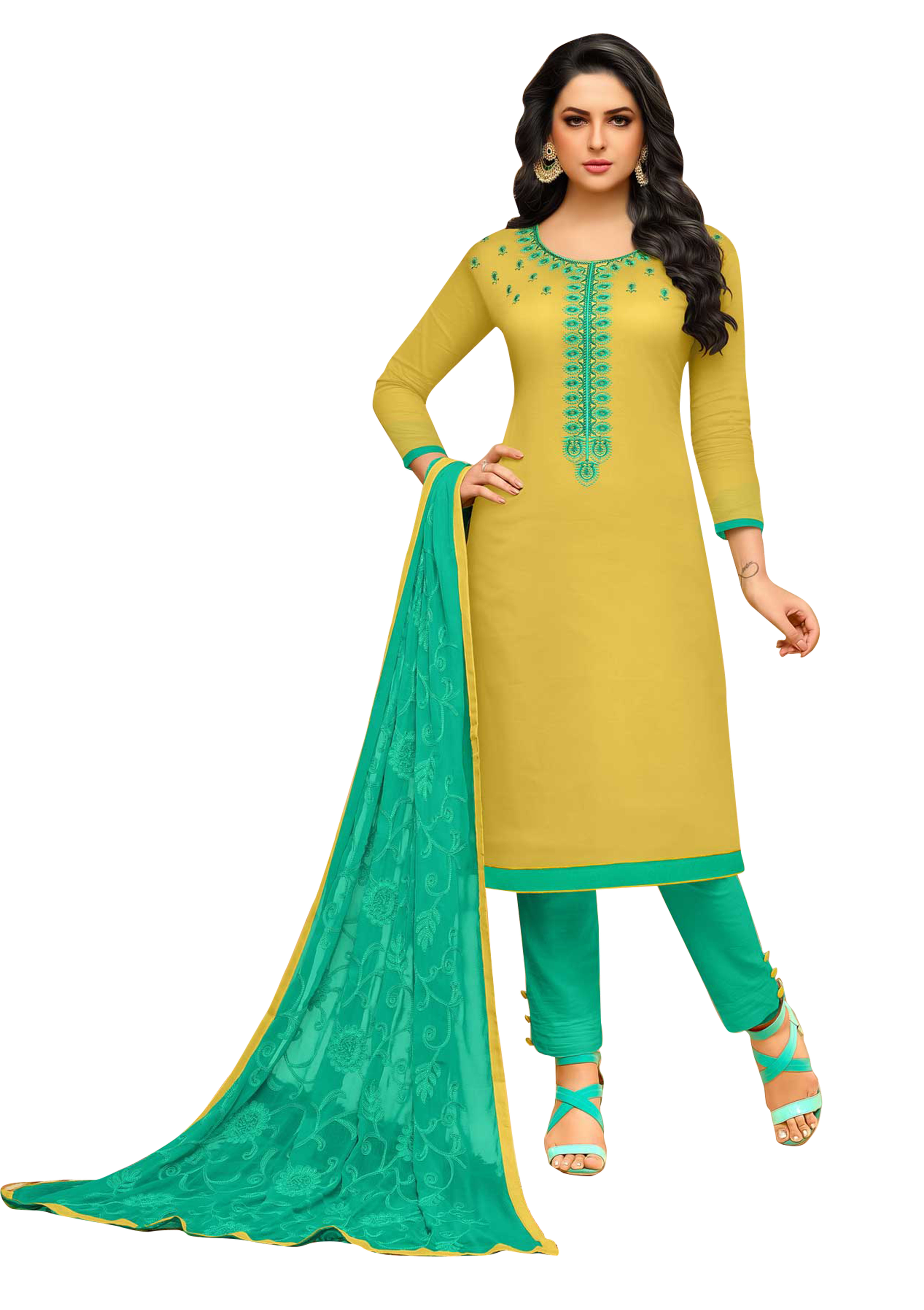 62238ab356 Yellow embroidered cotton salwar - Bansi Sarees - 2520263