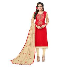 Red embroidered cotton salwar with dupatta