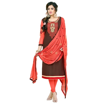 Brown embroidered cotton salwar with dupatta