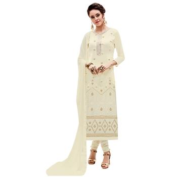 Cream embroidered georgette salwar with dupatta