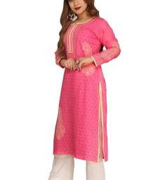 Magenta embroidered cotton chikankari-kurtis