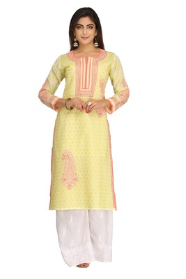 Lemon Embroidered Cotton Chikankari Kurti