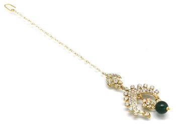 Crown Shaped Maang Tikka With Crystal
