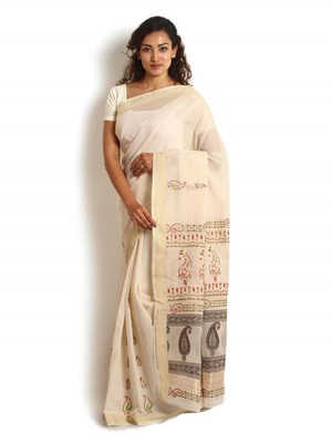 White embroidered cotton saree with blouse