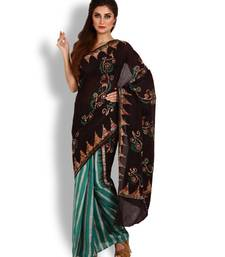 Brown printed cotton saree