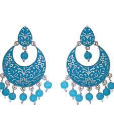 Meenakari blue kundan single color silver plated brass dangler set