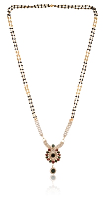 Fine maroon and white stone studded pendant with black and golden beads mangalstura