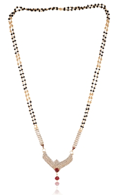 Ravishing white tine stones and big maroon stone studded mangalsutra