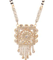 Geometrical and floral motif with stone danglings mangalsutra