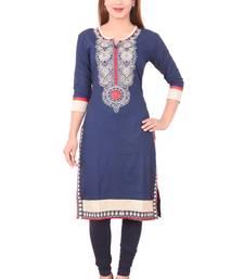 Buy Blue embroidered rayon ethnic-kurtis ethnic-kurtis online