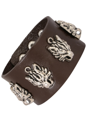 Tiger Head Funky 100% Genuine Handcrafted Rhodium Chocolate Brown Adjustable Leather Bracelet Boys