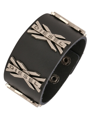 X Diesel Funky 100% Genuine Handcrafted Rhodium Black Adjustable Leather Bracelet Boys