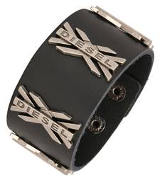 Buy X Diesel Funky 100% Genuine Handcrafted Rhodium Black Adjustable Leather Bracelet Boys men-bracelet online