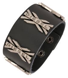 X Diesel Funky 100% Genuine Handcrafted Rhodium Black Adjustable Leather Bracelet Boys