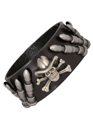 Bullet Danger Shape Funky 100% Genuine Handcrafted Rhodium Black Adjustable Leather Bracelet Boys