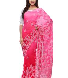 Pink embroidered georgette saree with blouse chikankari-saris