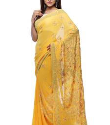 Yellow embroidered georgette saree with blouse chikankari-saris