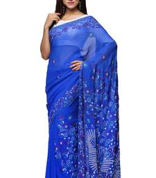 Blue embroidered georgette saree with blouse chikankari-saris
