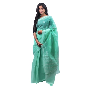 Sea green embroidered georgette saree with blouse