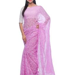 Buy Light purple embroidered georgette saree with blouse chikankari-saris online