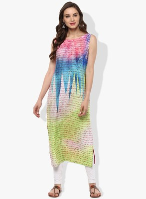 Multicolor printed crepe kurti