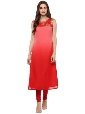 Red printed georgette kurti