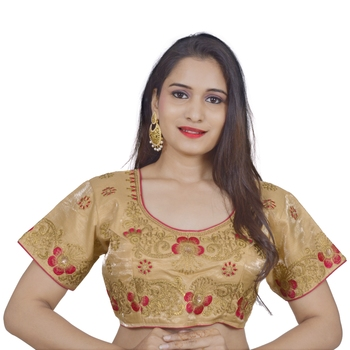Cream art silk embroidered stitched blouse
